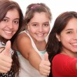 Girls with thumb up — Stock Photo