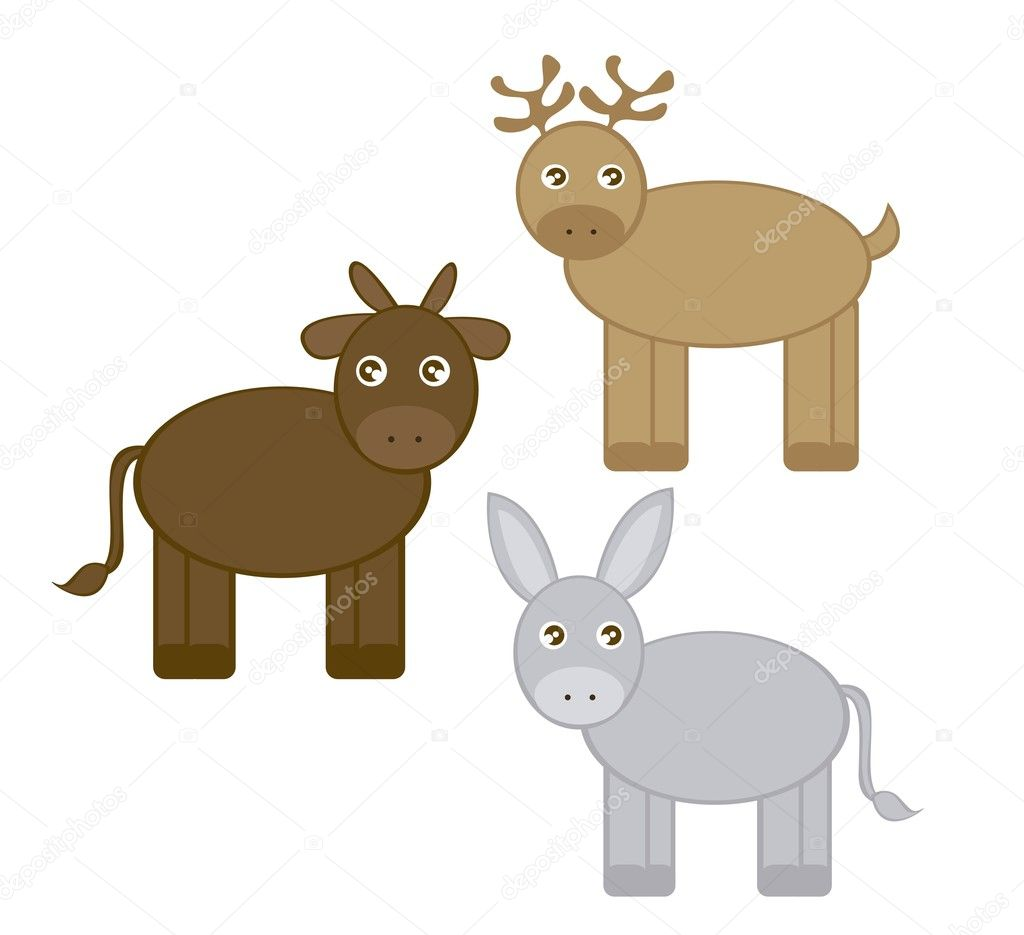 Reindeer, donkey and ox cartoons isolated over white background. vector  Stock Vector #7261928