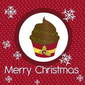 Cup cake christmas — Stock Vector