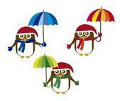 şemsiye olan penguen — Stok Vektör