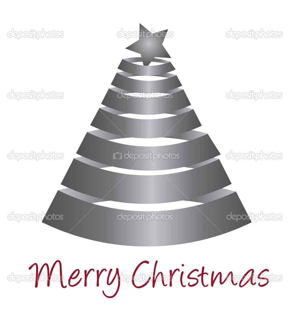 Silver tree christmas isolated over white background. vector — Stock Vector #7426468