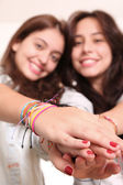 Smiling young girls — Stock Photo