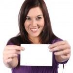 Beautiful Girl Holding Blank Sign — Stock Photo