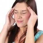 Beautiful Brunette Woman with Headache — Stock Photo