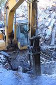 Engins de chantier lourds garés sur chantier — Photo