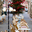 Street cafe at Christmas - Stock Photo