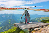 Hang gliding in Swiss Alps — Stock Photo