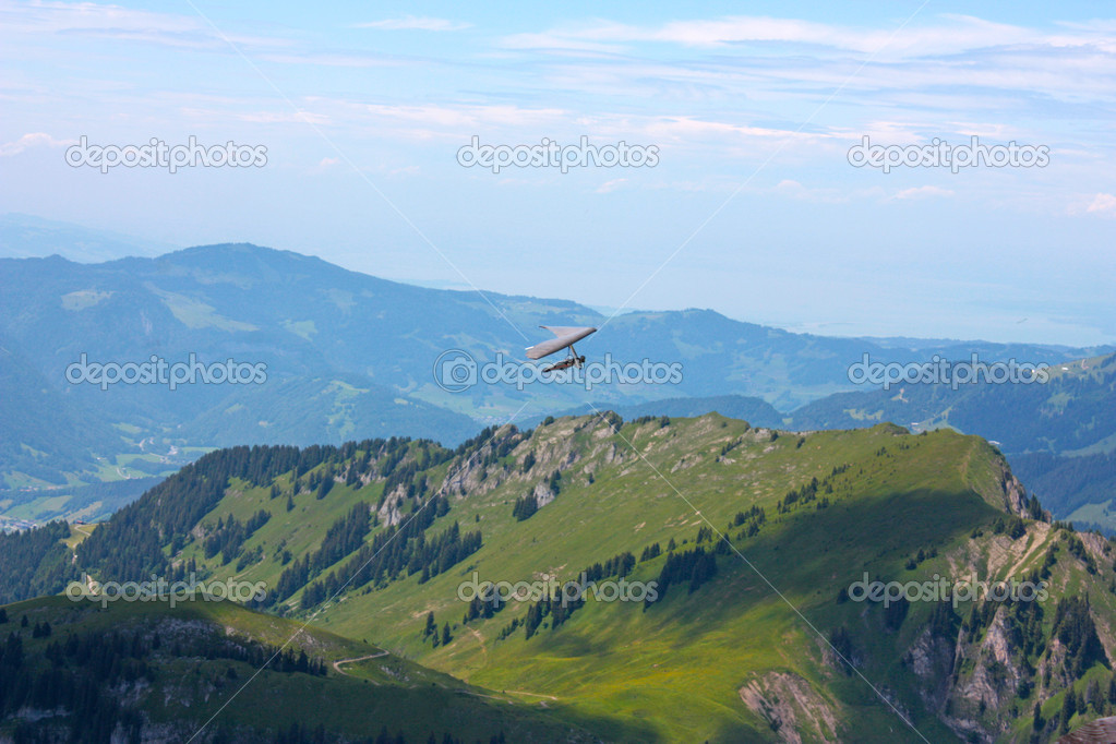 Hang gliding in Swiss Alps, Fiesh, Switzerland  Stock Photo #6819254