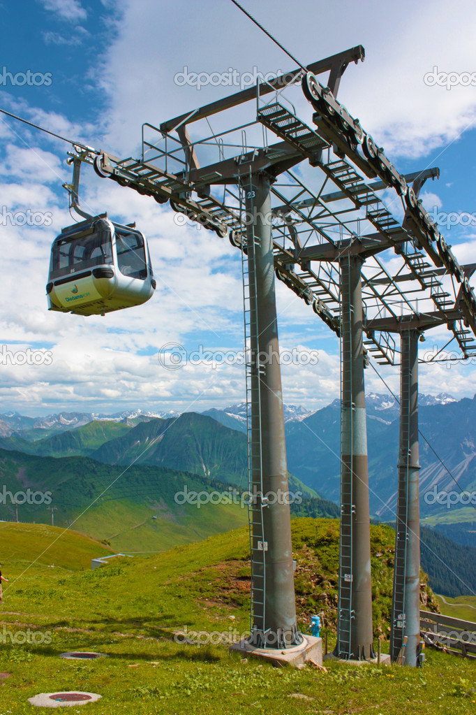 Summer landscape of  Swiss Alps with ski lifts on foreground  — Stock Photo #6886476