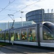 European Parliament in Strasbourg with train crossing — Stock Photo #6857553
