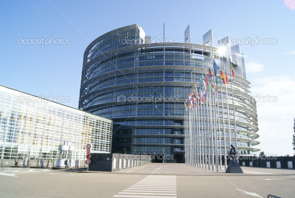 European Parliament in Strasbourg with river crossing the city — Stock Photo #6857190