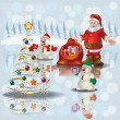 Christmas greeting with snowmen and Santa Claus - Imagen vectorial