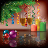 Christmas greeting with champagne and tree — Stock Vector