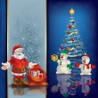 Abstract greeting with Christmas tree and Santa Claus — Imagen vectorial