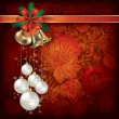 Christmas background with floral ornament — Image vectorielle