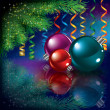 Royalty-Free Stock Vectorielle: Christmas greeting with tree and decorations