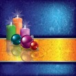 Stock Vector: Christmas grunge background with candles
