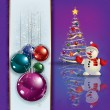 Greeting with Christmas tree and snowman — Stock Vector
