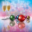 Christmas decorations and champagne — Stock Vector