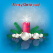 Christmas decorations and candle — Image vectorielle