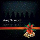 Vánoční zvonky a červenou stužku — Stock vektor
