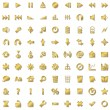 Stock Vector: Gold icons set isolated on white