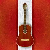 白のアコースティック ギター — ストックベクタ
