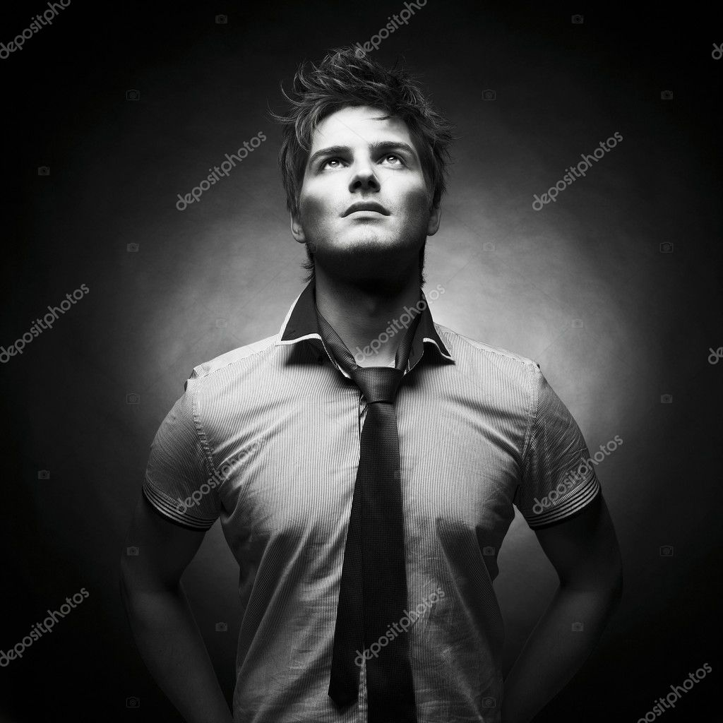 Portrait of a handsome stylish man with a cool hairstyle  Stock Photo #7911822