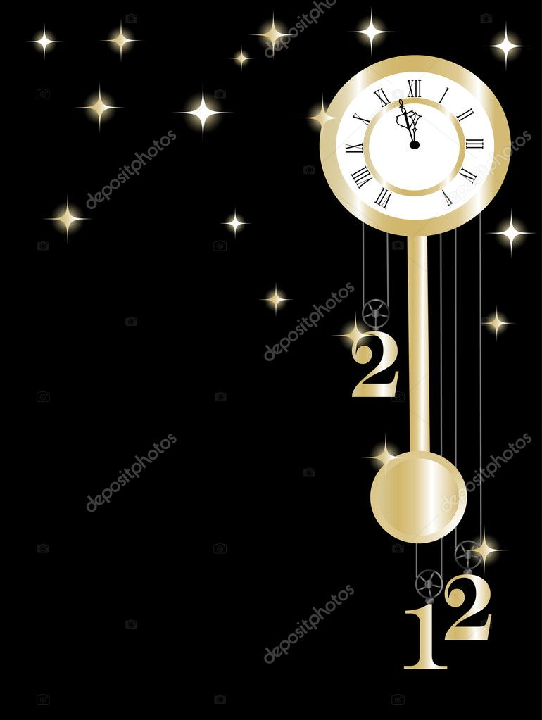 New year clock in gold and black — Stock Vector #7319767