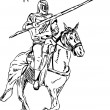 Knight on horse - Stock Photo
