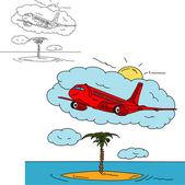 Airplane over island — Stock Photo