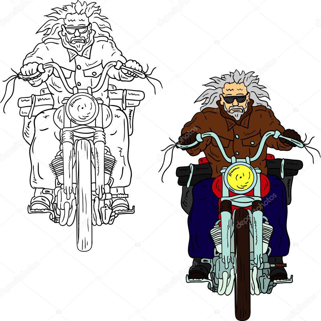 矢量-老骑自行车的人隔离在背景上– 图库图片