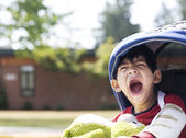 Five year old disabled boy going to school — Stock Photo