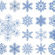 Snowflakes collection, element for design, vector illustration — ベクター素材ストック
