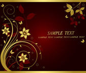Golden floral vector background — Stock Vector