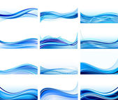 Set of abstract blue backgrounds vector — Stock Vector