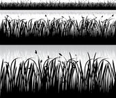 Set of grass silhouettes vector — Stock Vector