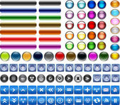 Glossy buttons set vector — 图库矢量图片