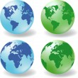 Glossy Earth Globes vector — Stock Vector #7799456