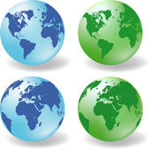 Glossy Earth Globes vector — Stock Vector