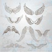 Wings set. hand drawn illustration. — Stock Photo