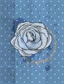 Vintage design. Tea rose. Paper grunge background — Stock Photo
