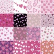Super set vector seamless pattern with hearts — Stock Vector #7199318