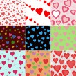 Super set vector seamless pattern with hearts — Stock Vector #7199322