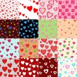 Super set vector seamless pattern with hearts — Stock Vector