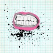 Sketch of the lips and teeth on the school paper. Grunge backgro — Stock Vector