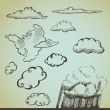 Vector set: drawn by hand clouds — Vettoriali Stock