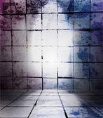 Gamla rum, grunge interiör vektor bakgrund — Stockvektor
