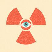 Radiation symbol retro poster — Stock Vector