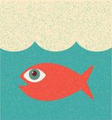 Fish. Retro poster — Stock Vector
